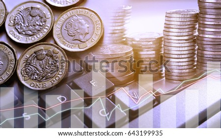 Double exposure of graph and row of coins and new pound couins for finance and banking concept #643199935