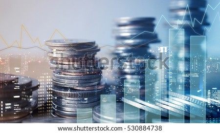 Double exposure of graph and rows of coins for finance and business concept #530884738