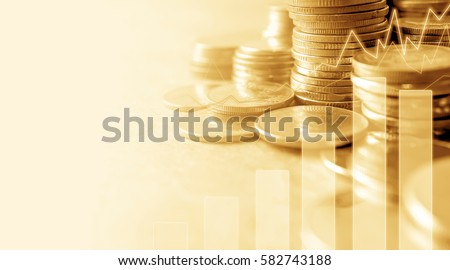 Double exposure of graph and rows of coins for finance and business concept #582743188