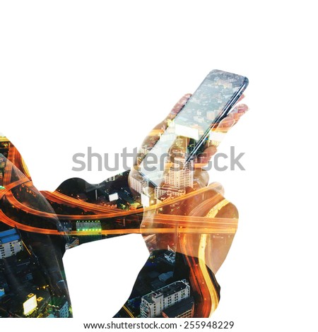 Double exposure of hand touch screen on Smartphone