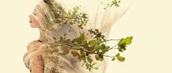 Double exposure of happy girl dancing and green leaves