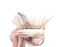 Double exposure of happy girl dancing and seascape