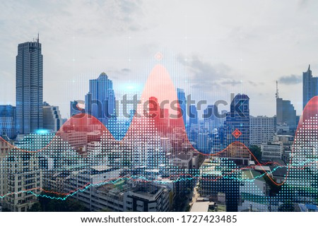 Double exposure of high buldings and forex trading chart. Digital economy, business, money, and financial investment concept. Foto stock ©