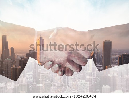 Double exposure of Image of businessmen hand shake, concept of network connection in urban life. #1324208474