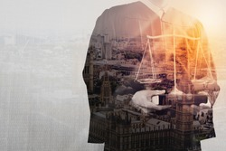 Double exposure of justice and law concept.Male judge in a courtroom with the balance scale and holy book,London city