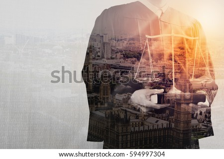 Double exposure of justice and law concept.Male judge in a courtroom with the balance scale and holy book,London city  Foto d'archivio ©