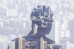 Double exposure of man over cityscape, rear view