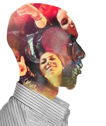 Double exposure of man with girls at party concert in head