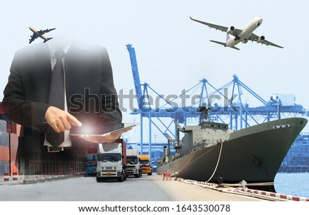 Double exposure of man with world map for logistic network distribution on background and Logistics Industrial Container Cargo freight ship for shipping and Transportation, import-export