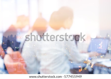 double exposure of night city and employee working concept for business background element design. #577455949