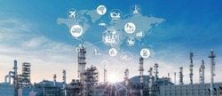Double exposure of oil refinery industry and icon connecting networking for information and using modern  technology, Industrail 4.0 concept.