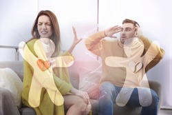 Double exposure of quarreling couple and human figures with broken hearts. Relationship problems