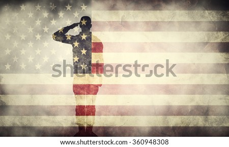 Shutterstock Double exposure of saluting soldier on USA grunge flag. Vintage, retro style. Patriotic design