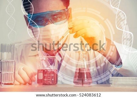Double exposure of scientist and laboratory test tube , science research concept