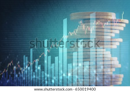 Double exposure of stock and profit graph on rows of coins for finance and banking concept