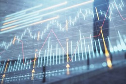 Double exposure of stock market graph on empty exterior background. Concept of analysis