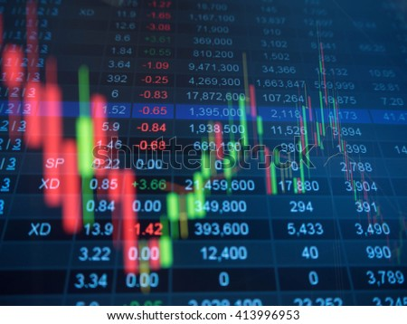 Double exposure of stocks market chart and stock data  in blue on LED display concept. Foto d'archivio ©