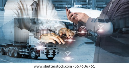 Double exposure of success businessman working in office with digital tablet laptop computer for Industrial Container Cargo freight ship for Logistic Import Export concept