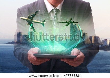 Double exposure of success businessman working with digital lcomputer with Blue radar screen over square grid lines and highly detailed map of the world for Logistic Import Export concept
