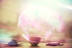 Double exposure of tech theme hologram over coffee cup background in office. Concept of technlogy