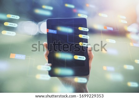 Double exposure of technology sketch hologram and woman holding and using a mobile device. Ai concept