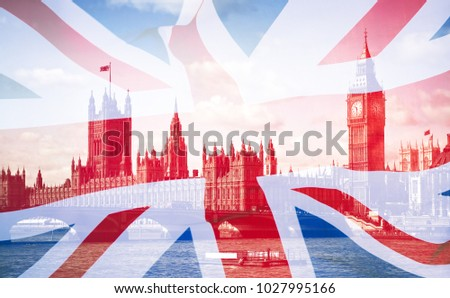 Double exposure of the United Kingdom flag and Big Ben.