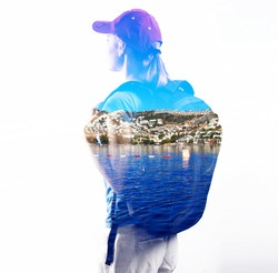 Double exposure of woman traveler and seaside. Concept of female hiker with backpack traveling to harbors.