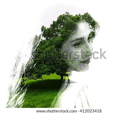 Double exposure of young beautiful girl among the leaves and trees. Portrait of a woman, mysterious look, creative, art, conceptual illustration. Isolated on white background.