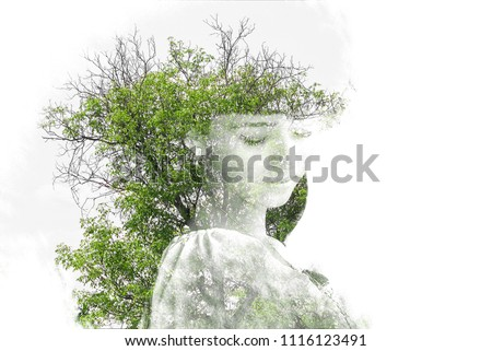 Double exposure of young beautiful girl among the leaves and trees. Portrait of attractive lady combined with photograph of tree. Creative. Effect of double exposure, nature style. Silhouette Isolated