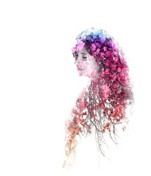 Double exposure of young beautiful girl isolated on white background. Portrait of a woman, mysterious look, sad eyes, creative, art, conceptual illustration. Isolated on white background.