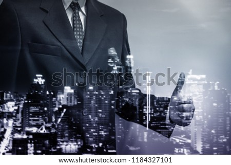 Double exposure of young business man to represent successful in investment marketing. Find out the best solution in business and financial as concept. #1184327101