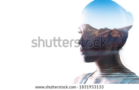 Double exposure of young woman and sunset background Foto stock ©