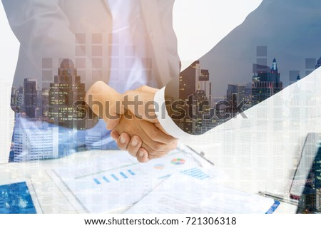 Double Exposure PARTNERs Business and Building, Business Handshake and Collaboration of Partners and Sponsors who are faithful.Confidence as WELL Coming Together is Key part of Success