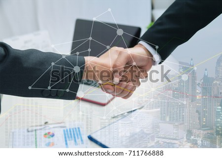 Double Exposure Partners Business team Handshake and Connection Social Media Graphics, Business and Collaboration of Partnership and Sponsor who are Faithful. Businesspeople Co-Working Teamwork