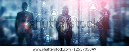 Double exposure people network structure HR - Human resources management and recruitment concept
