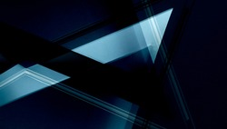 Double exposure photo of abstract architectural surfaces. Walls, ceiling. Futuristic interior fragment in blue color. Polyhedron or triangular geometric background structure with multiple facets.
