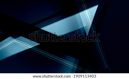 Double exposure photo of abstract architectural surfaces. Walls, ceiling. Futuristic interior fragment in blue color. Polyhedron or triangular geometric background structure with multiple facets. Zdjęcia stock ©