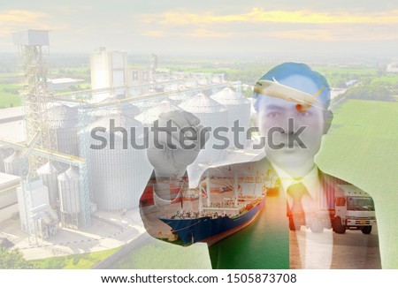 Double exposure photo of Logistic business, export and people concept. Logistics and transportation of Container Cargo ship and Cargo plane on silo background.