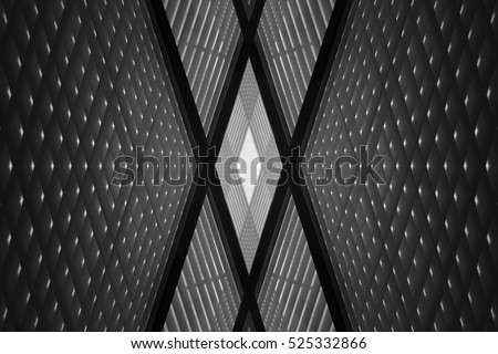 Double exposure photo of sloped walls. Realistic though unreal office interior fragment. Abstract black and white image on the subject of modern architecture. #525332866