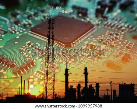 Electronic circuit board or PCB background with silhouette