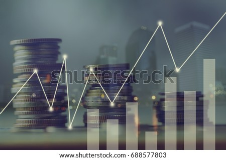 double exposure pile of coins and night city, concept in growth, save, finance, account,capital banking  and investment in business