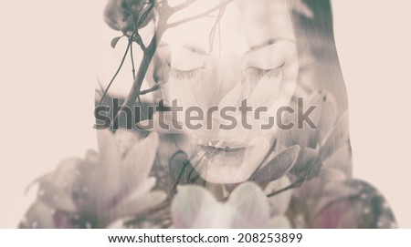 Double exposure portrait of a dreamy woman