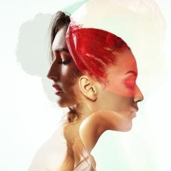 Double exposure portrait of two beautiful fashion girls. Young women in love.