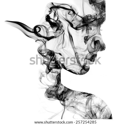 Double exposure portrait of young woman and cigarette smoke.