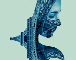 Double exposure portrait of young woman and Eiffel tower. Parisian emigration.