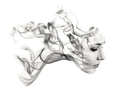 Double exposure portrait of young woman and smoke.