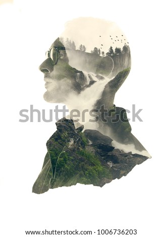 Double exposure silhouette head portrait of a thoughtful man combined with photograph of forest waterfall landscape. Conceptual image showing unity of human with nature. Ecology, freedom, environment