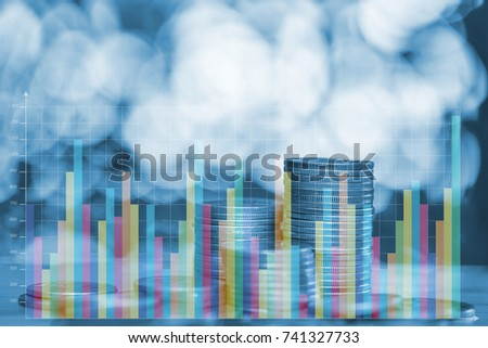 Double exposure stacks of coins with financial graph, finance and business bank concept.