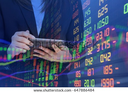 double exposure Statistic index graph of stock market financial indicator data statistic and analysis graph background. Abstract stock market data concept.  #647886484