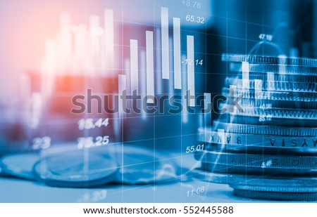 Double exposure stock financial indices on currency exchange. Financial stock market in accounting market economy analysis. Digital stock exchange trade cost background. Economy financial cost concept
